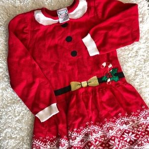 Christmas sweater dress 5T red white holidays